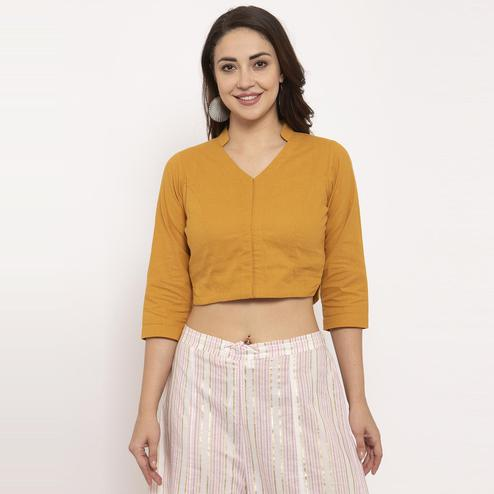 Ayaany - Mustard Yellow Colored Casual Wear Pure Cotton Blouse