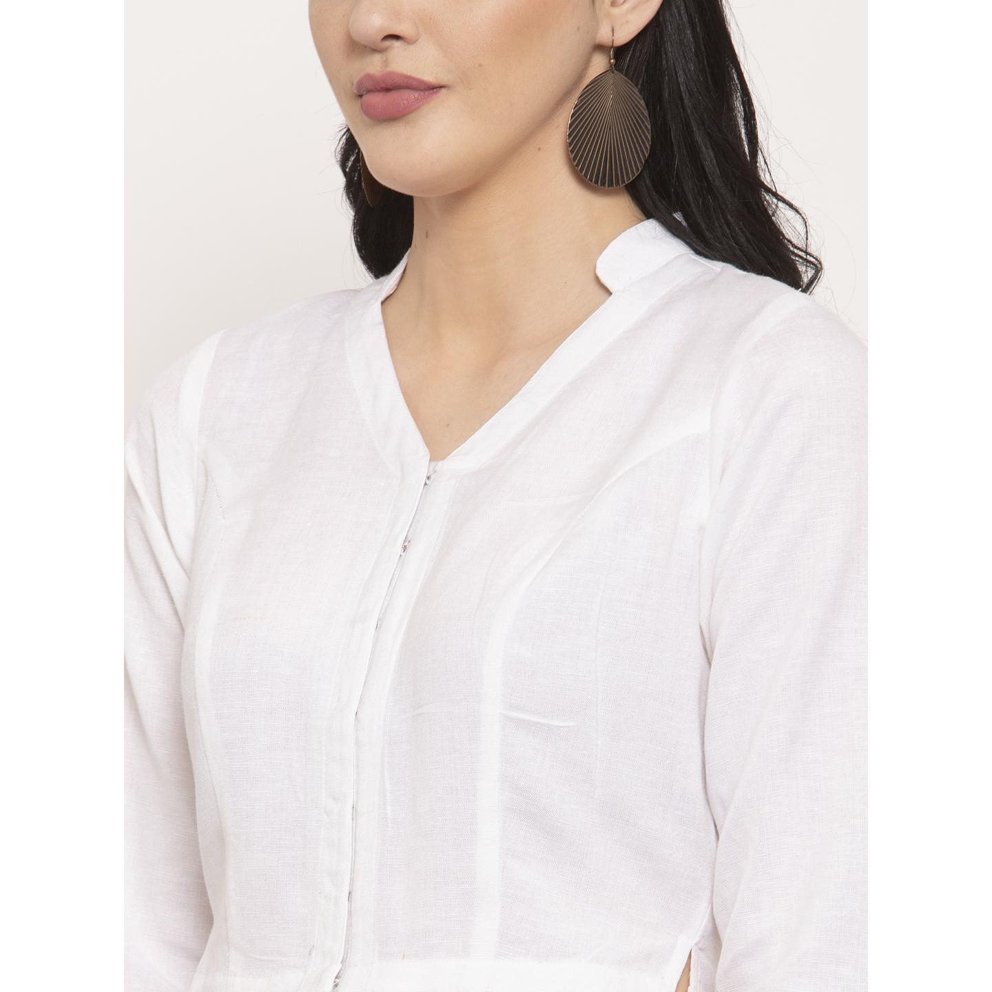 Ayaany - White Colored Casual Wear Pure Cotton Blouse