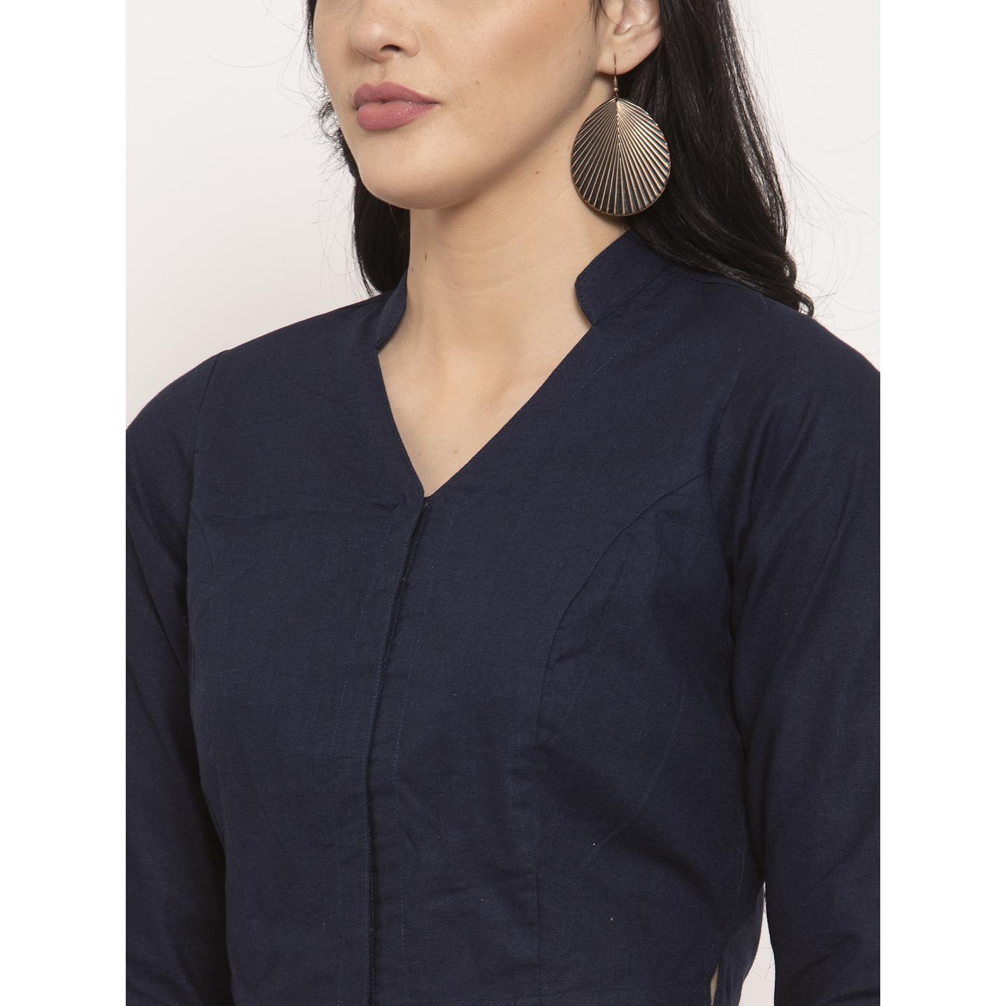 Ayaany - Blue Colored Casual Wear Pure Cotton Blouse