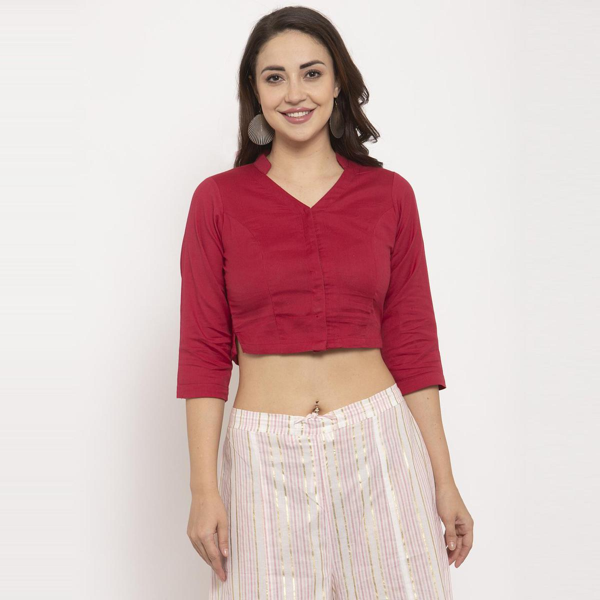 Ayaany - Red Colored Casual Wear Pure Cotton Blouse