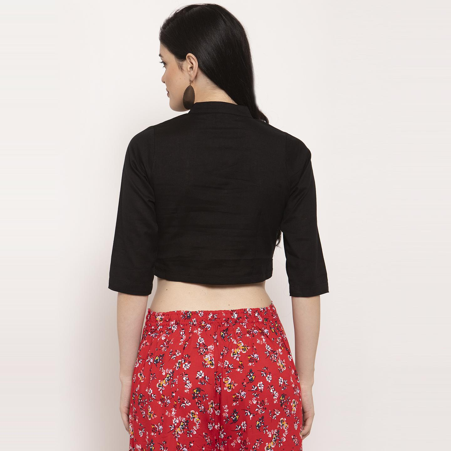 Ayaany - Black Colored Casual Wear Pure Cotton Blouse