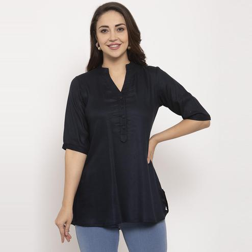Ayaany - Black Colored Casual Wear Pure Cotton Top