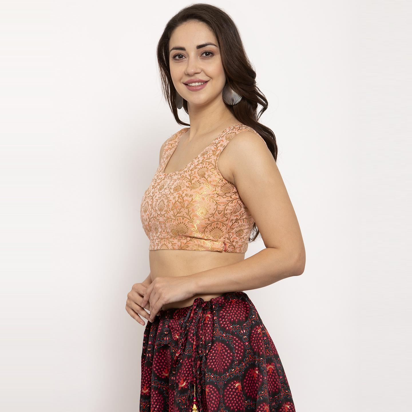 Ayaany - Pink Colored Party Wear Woven Pure Silk Blouse