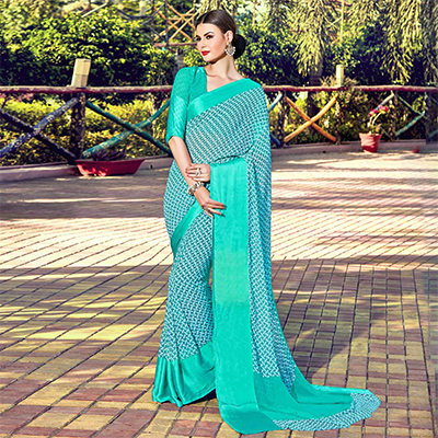 Turquoise Digital Printed Soft Silk Saree