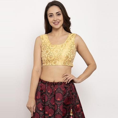 Ayaany - Yellow Colored Party Wear Woven Pure Silk Blouse