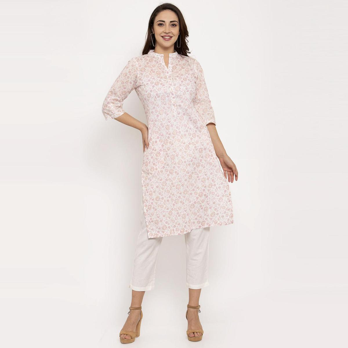 Ayaany - White Colored Casual Wear Floral Printed Cotton Kurti