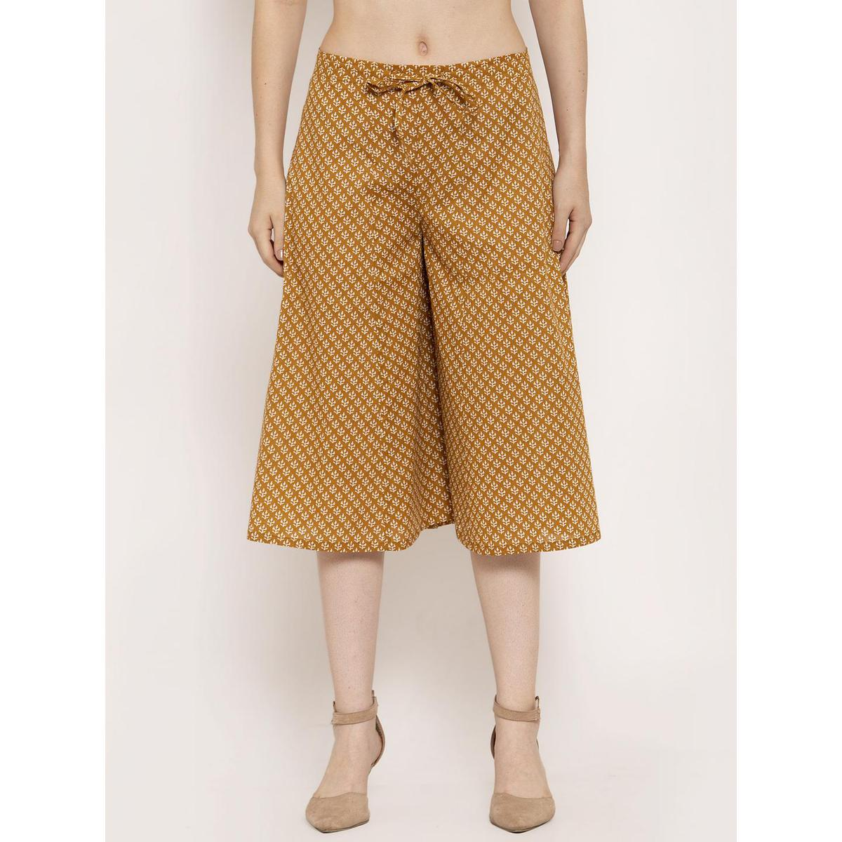 Ayaany - Mustard Yellow Colored Casual Wear Printed Cotton Culotte