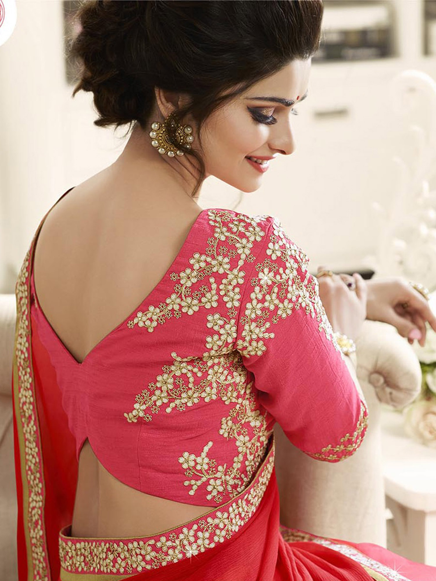Shaded Pink - Red Chiffon Saree With Embroidered Blouse