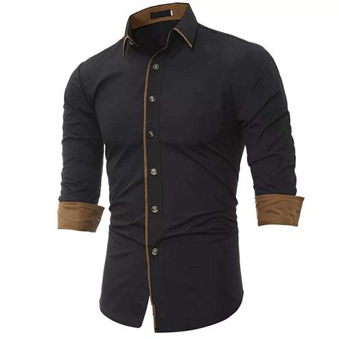 Prominent Black Colored Casual Wear Pure Cotton Shirt