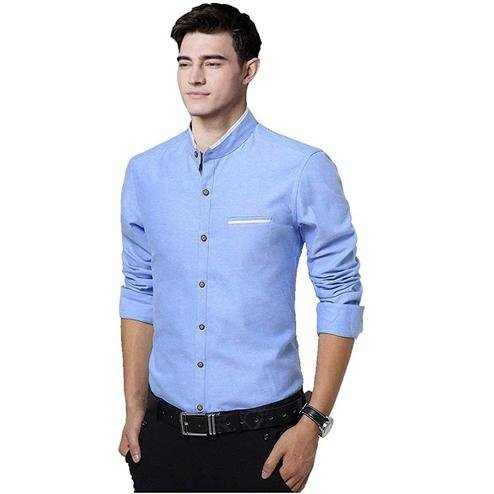 Capricious Sky Blue Colored Casual Wear Pure Cotton Shirt