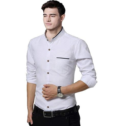 Groovy White Colored Casual Wear Pure Cotton Shirt
