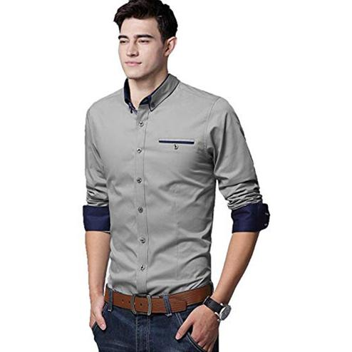 Adorning Grey Colored Casual Wear Pure Cotton Shirt