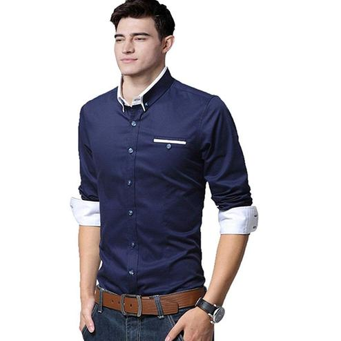Exclusive Navy Blue Colored Casual Wear Pure Cotton Shirt