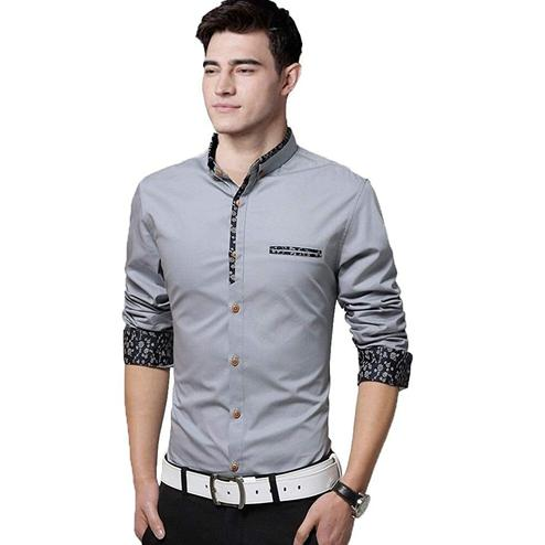 Glorious Grey Colored Casual Wear Pure Cotton Shirt