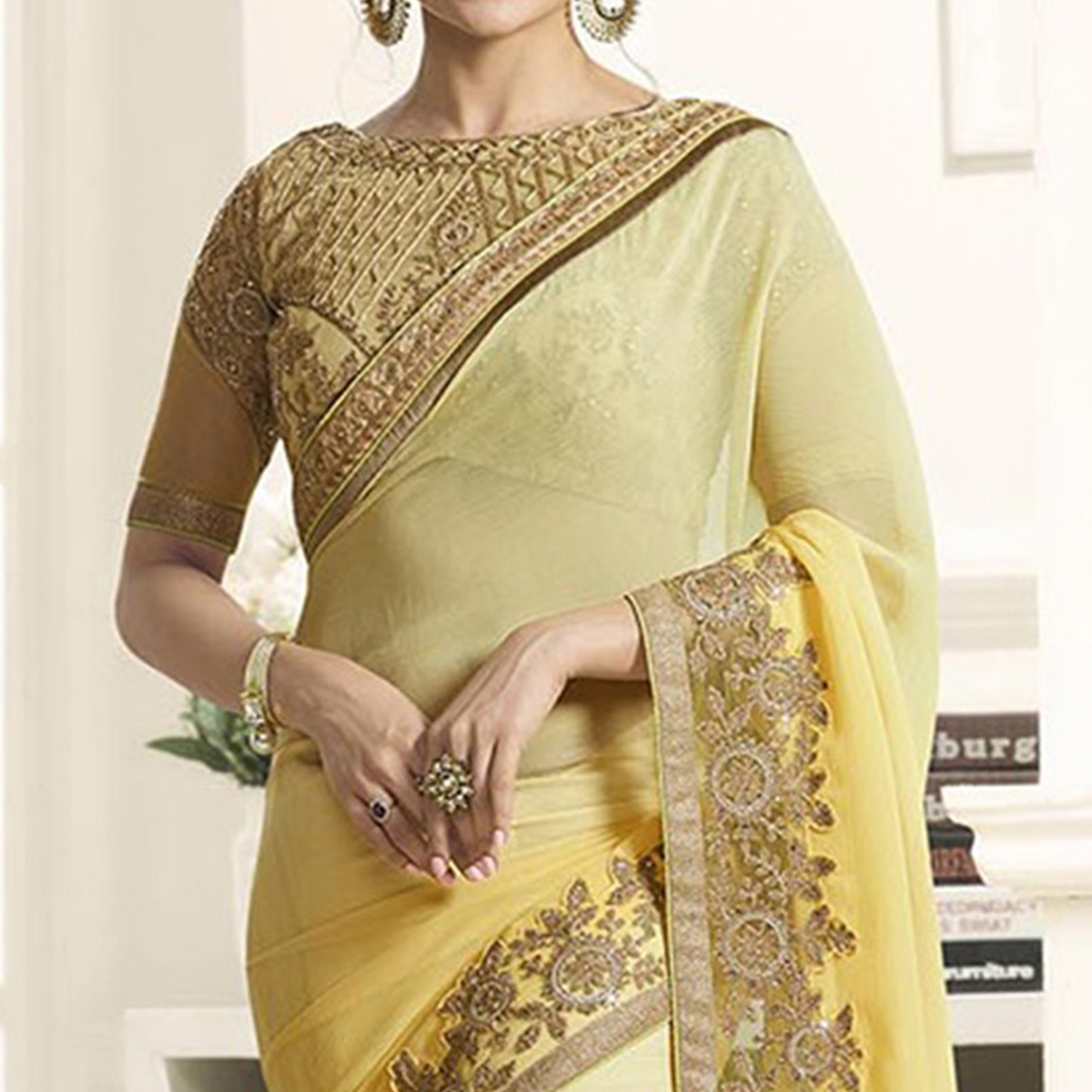 Shaded Yellow Chiffon Saree with Embroidered Blouse