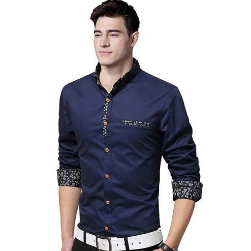 Blooming Navy Blue Colored Casual Wear Pure Cotton Shirt