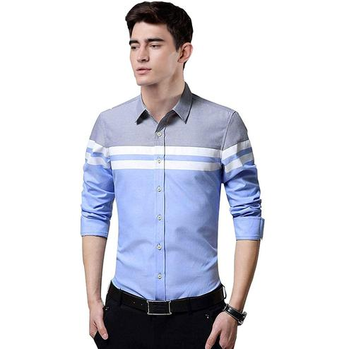 Charming Blue Colored Casual Wear Pure Cotton Shirt
