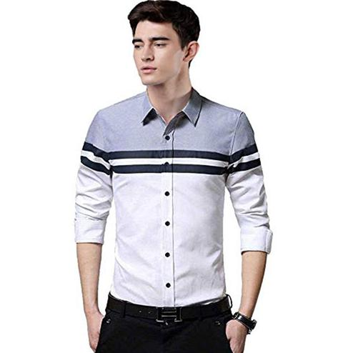 Jazzy White Colored Casual Wear Pure Cotton Shirt