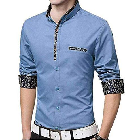 Delightful Blue Colored Casual Wear Pure Cotton Shirt