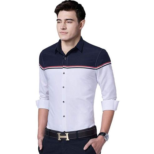 Captivating White Colored Casual Wear Pure Cotton Shirt