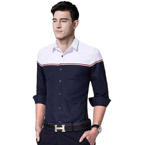 Innovative Navy Blue Colored Casual Wear Pure Cotton Shirt
