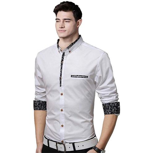 Fantastic White Colored Casual Wear Pure Cotton Shirt