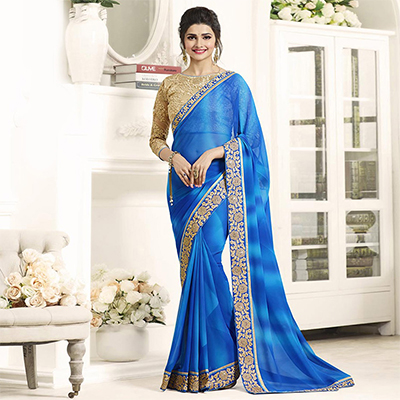 Blue Border Work Georgette Saree