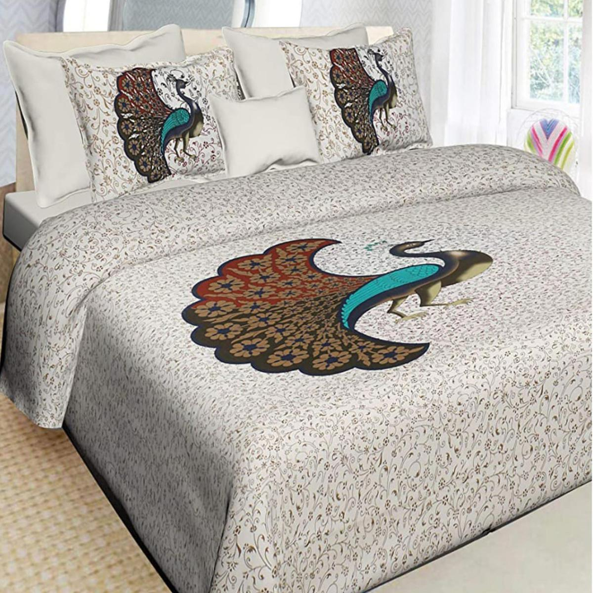 Radiant Multi-White Colored Printed Cotton Double Bedsheet with 2 Pillow Cover