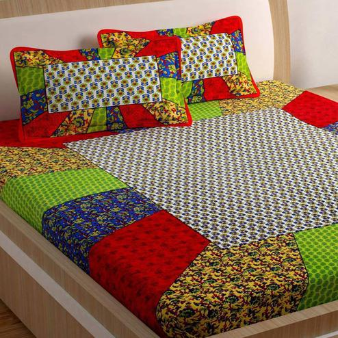 Pleasant Multi Colored Printed Cotton Double Bedsheet with 2 Pillow Cover