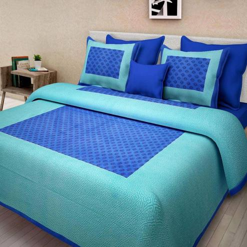 Opulent Blue Colored Printed Cotton Double Bedsheet with 2 Pillow Cover