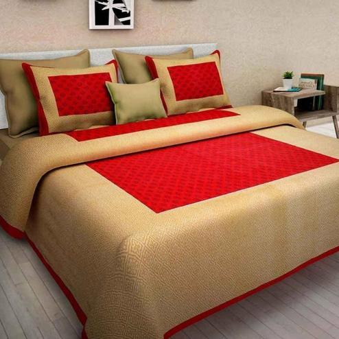 Energetic Red Colored Printed Cotton Double Bedsheet with 2 Pillow Cover