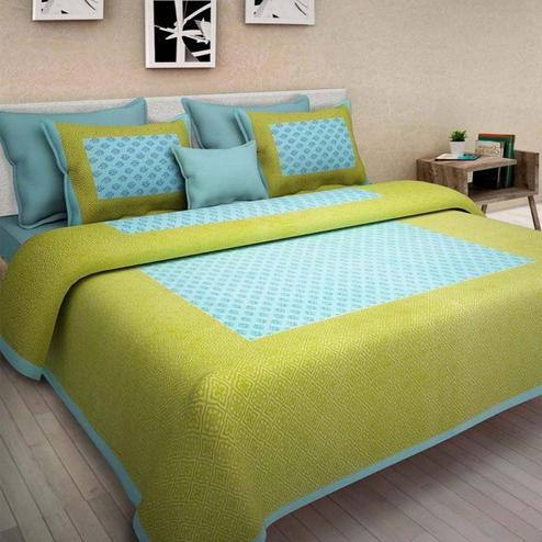 Glowing Green Colored Printed Cotton Double Bedsheet with 2 Pillow Cover