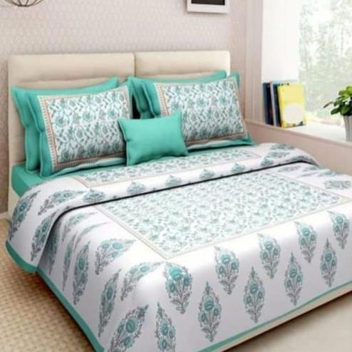 Exceptional Green-White Colored Printed Cotton Double Bedsheet with 2 Pillow Cover