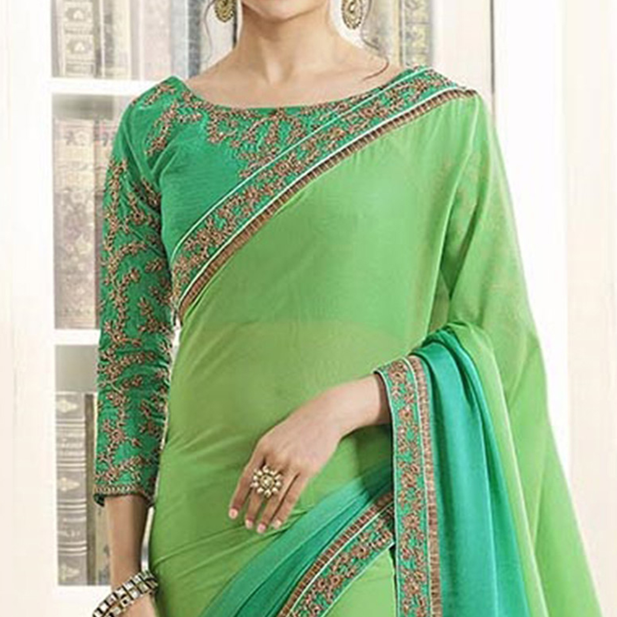 Shaded Green Georgette Saree With embroidered Blouse