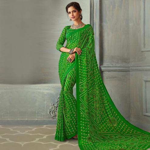 Preferable Green Colored Casual Wear Bandhani Printed Chiffon Saree