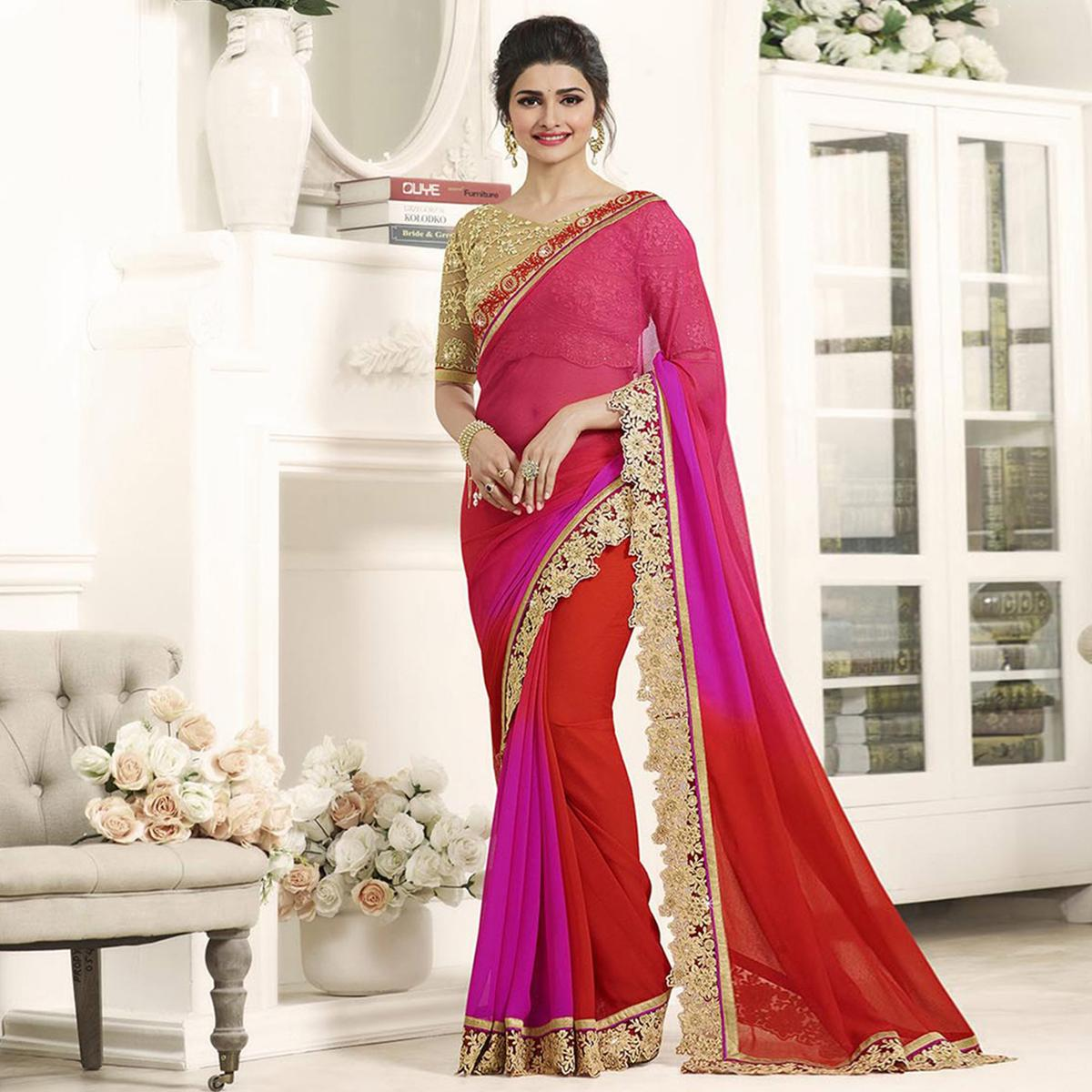 Pink - Red Embroidered Work Paper Silk Saree