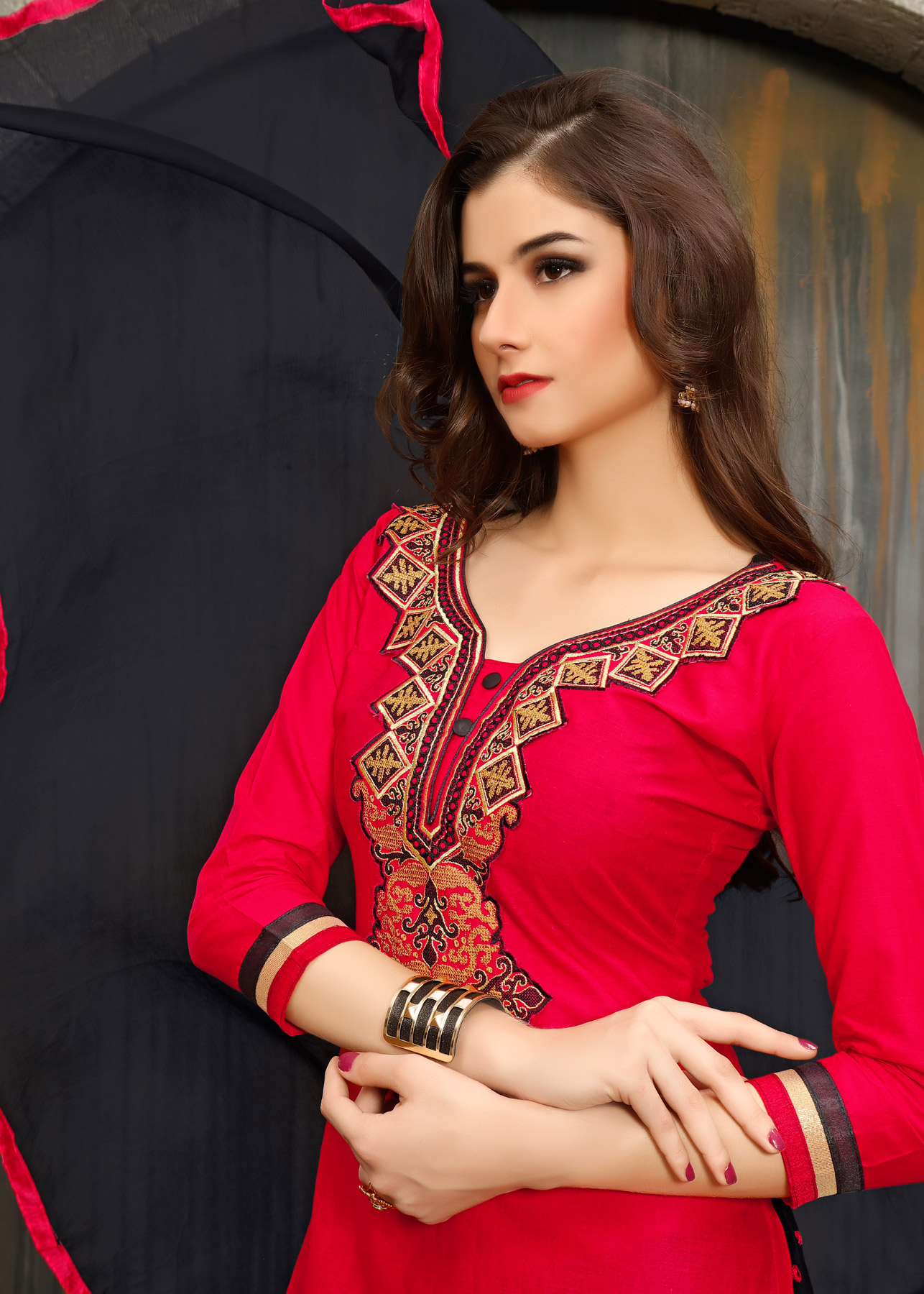 Red Embroidered Work Patiala Suit