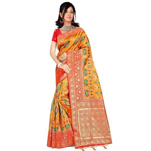 Pache - Yellow Colored Festive Wear Woven Art Silk Saree With Tassels