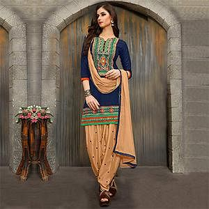 Blue - Beige Party Wear Patiala Suit
