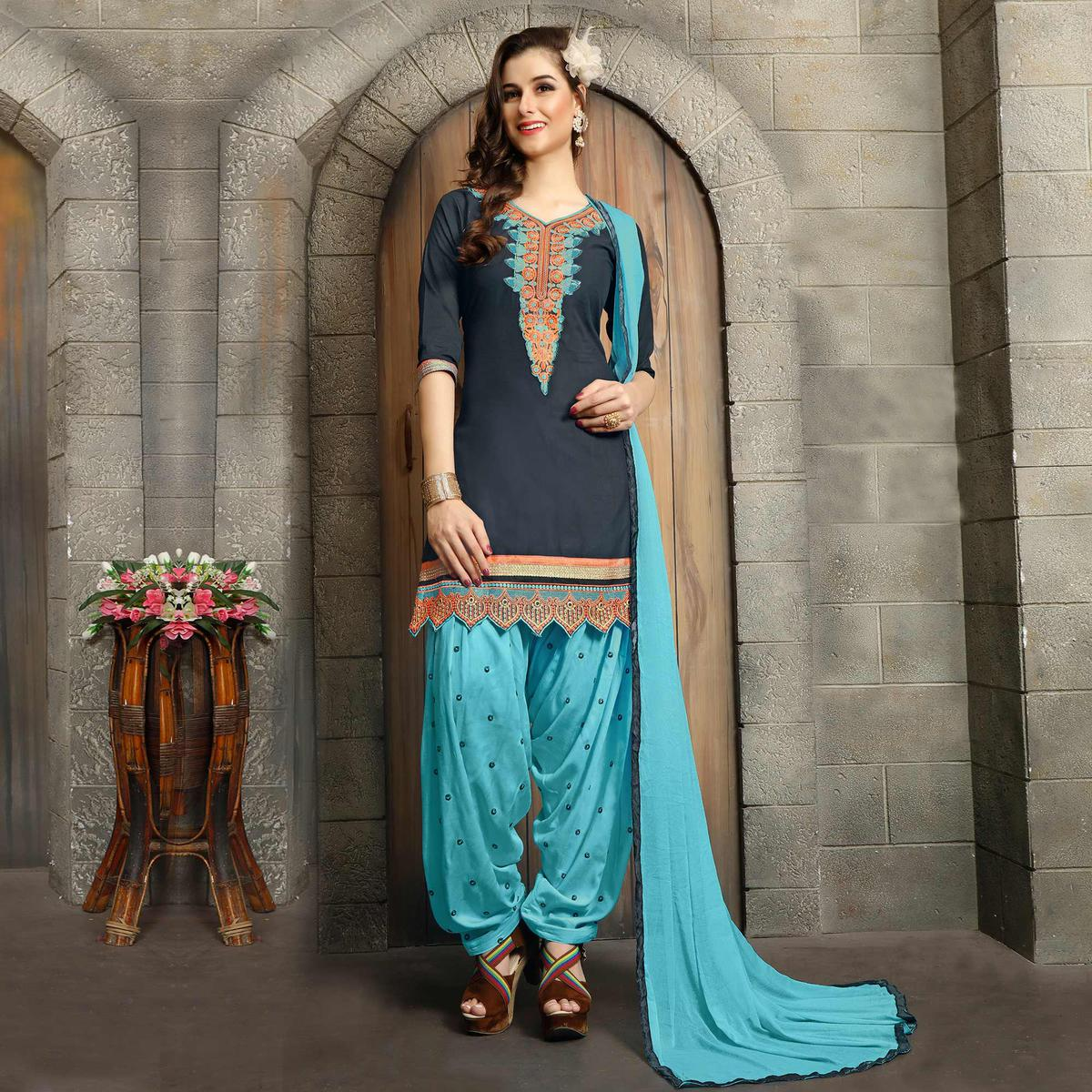 Grey - Blue Festive Wear Patiala Suit
