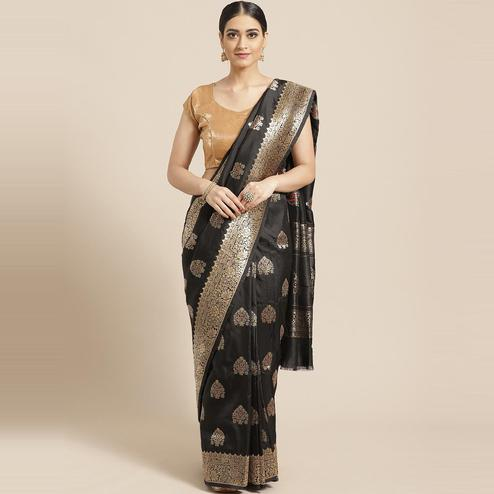 Pache - Black Colored Festive Wear Flower Print Art Silk Saree