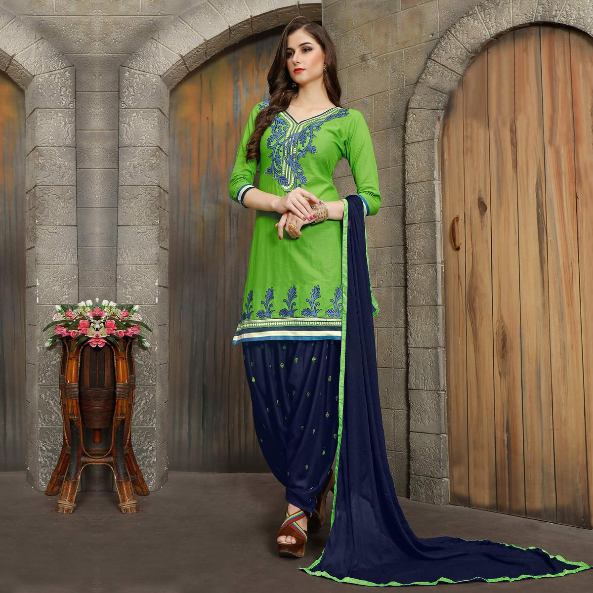 Green - Blue Embroidered Work Patiala Suit