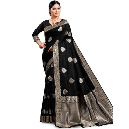 Pache - Black Colored Festive Wear Cotton Art Silk Saree
