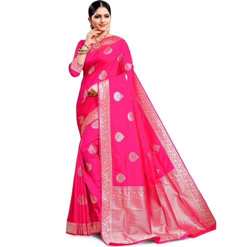 Pache - Pink Colored Festive Wear Cotton Art Silk Saree