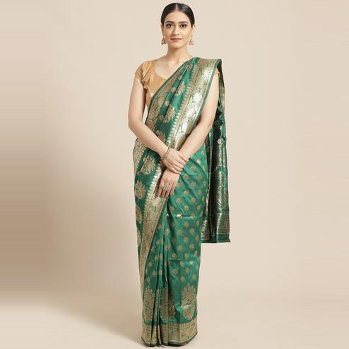 Pache - Green Colored Festive Wear Rani Patterned Art Silk Saree
