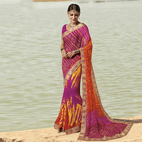 Pink Traditional Bandhani Printed Saree