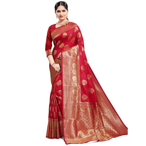 Pache - Red Colored Festive Wear Banarasi Art Silk Saree