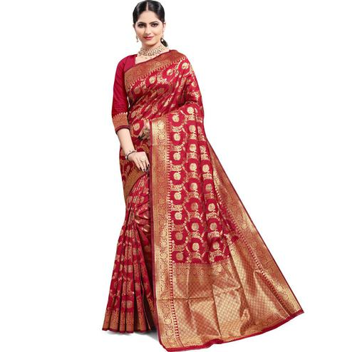 Pache - Red Colored Festive Wear South Indian Art Silk Saree