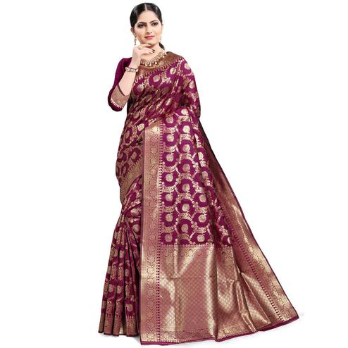 Pache - Violet Colored Festive Wear South Indian Art Silk Saree