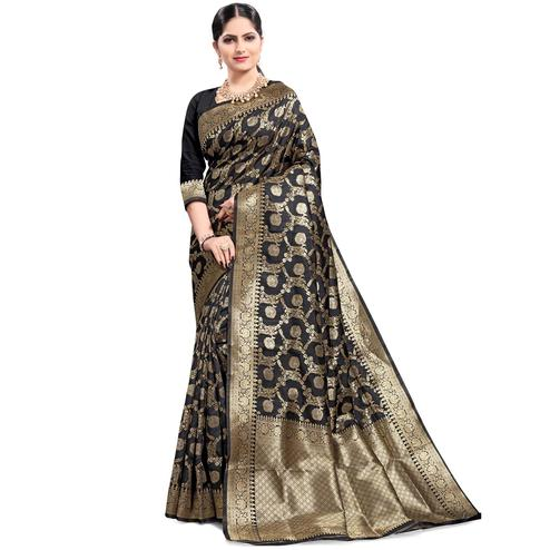 Pache - Black Colored Festive Wear South Indian Art Silk Saree